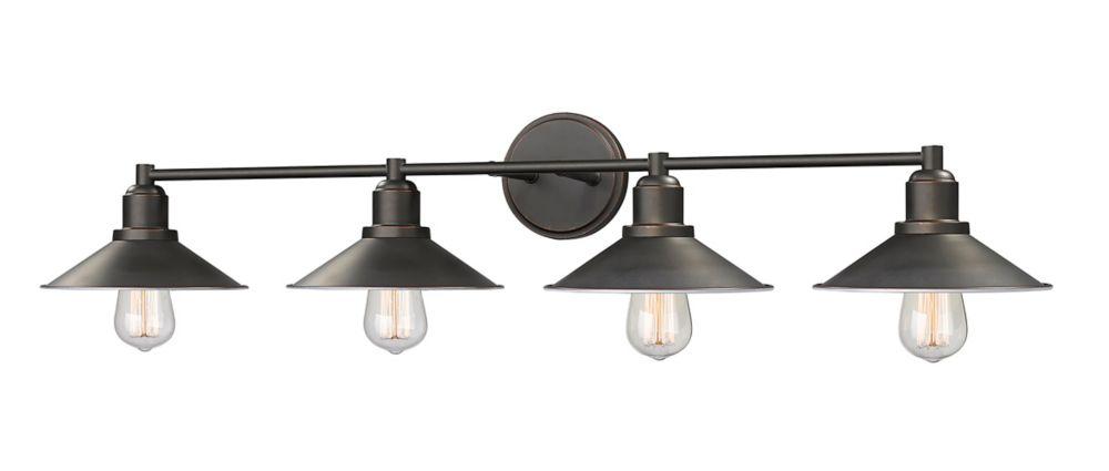 Filament Design 4-Light Olde Bronze Vanity with Olde Bronze Steel Shade - 9.5 inch