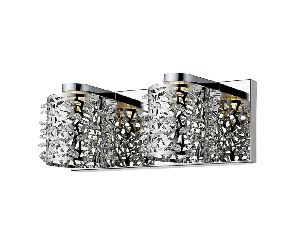 Filament Design 2-Light Chrome Vanity with Chrome and Crystal and Steel Shade - 5.63 inch