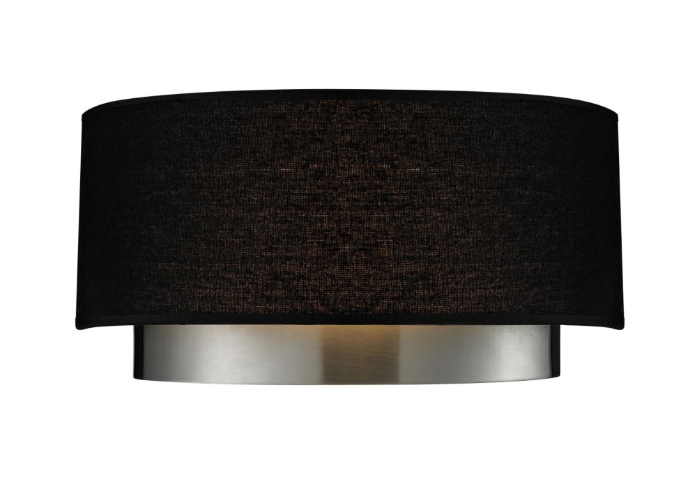 Filament Design 2-Light Chrome Wall Sconce with Black Fabric Shade - 4.75 inch