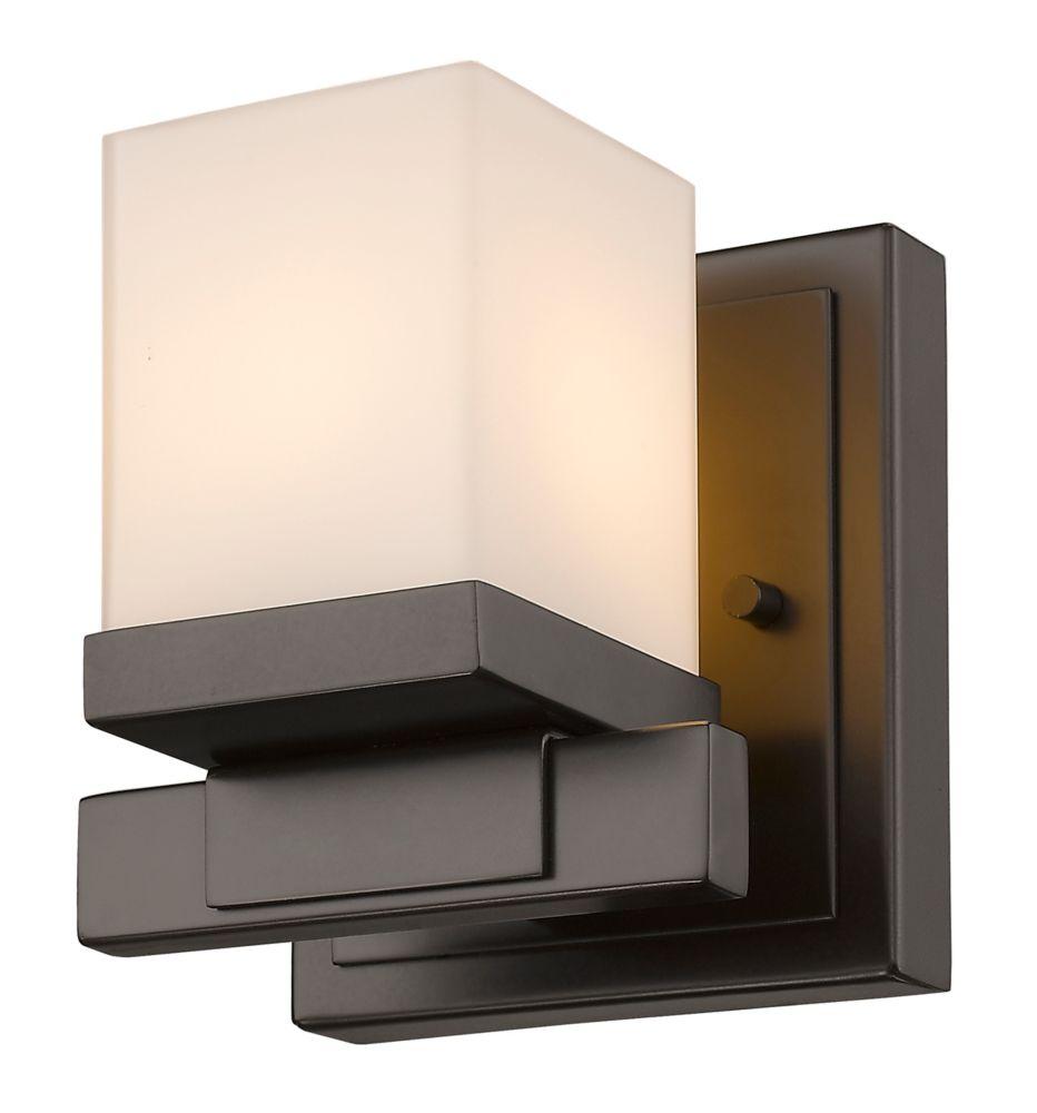 Filament Design 1-Light Bronze Wall Sconce with Matte Opal Glass Shade