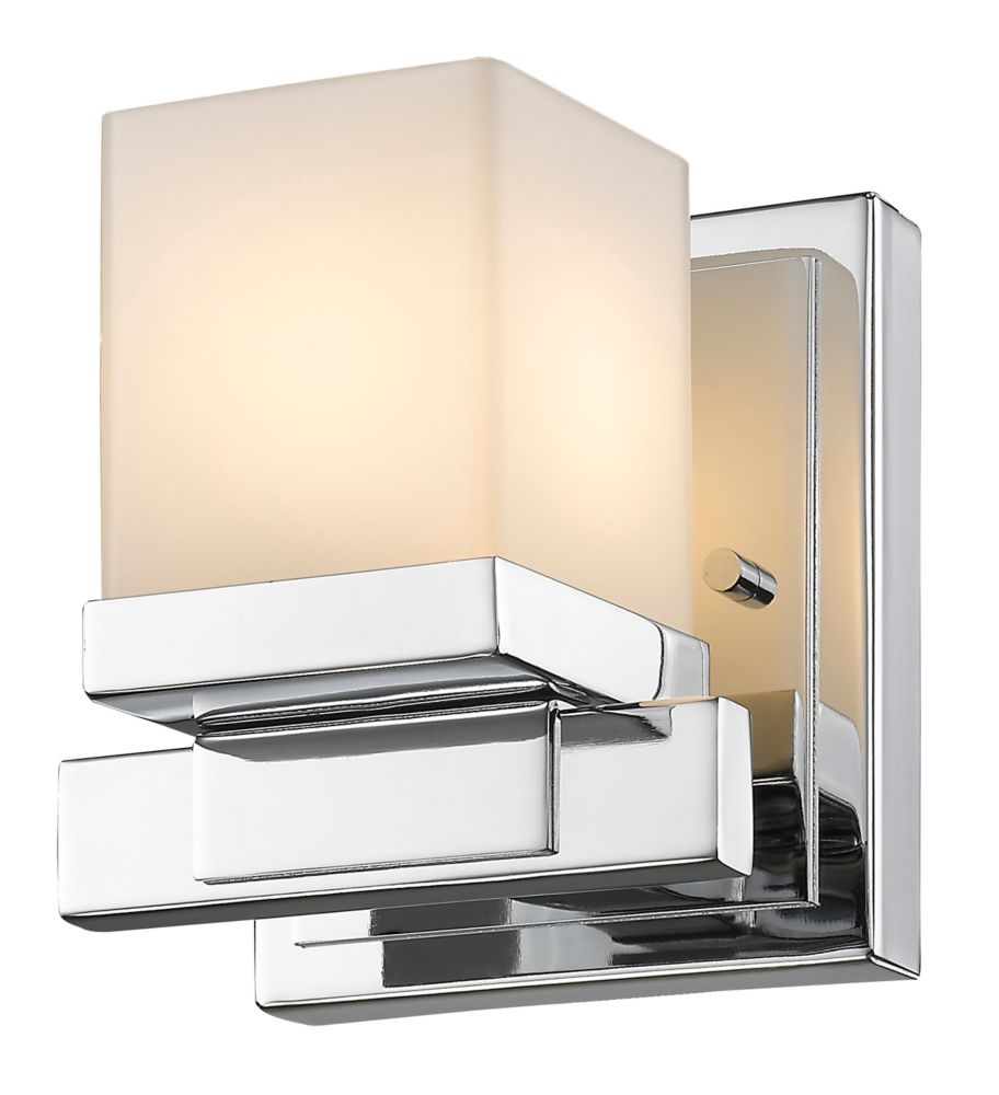 Filament Design 1-Light LED Chrome Sconce with Matte Opal Glass - 4.4 inch