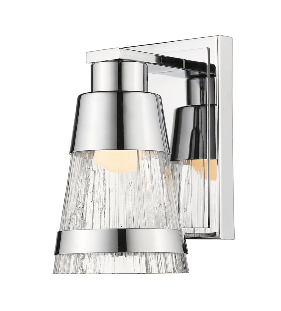1-Light Chrome Wall Sconce with Chisel Glass - 5.7 inch