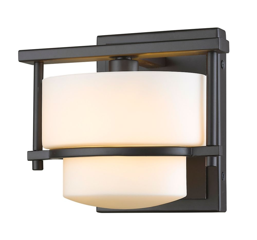 Filament Design 1-Light LED Bronze Wall Sconce with Matte Opal Glass - 7 inch