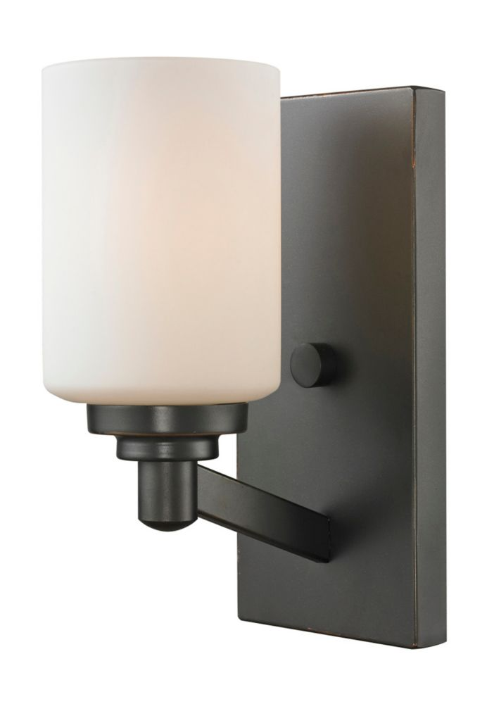 1-Light Coppery Bronze Wall Sconce with Matte Opal Glass - 6 inch