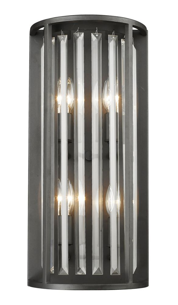 Filament Design 4-Light Bronze Wall Sconce with Clear Crystal Accents - 6 inch