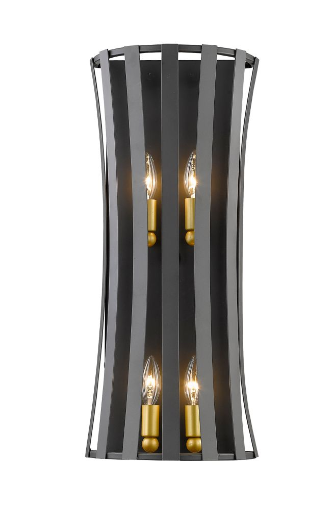 Filament Design 4-Light Bronze Gold Wall Sconce with Bronze Gold Steel Shade - 5 inch