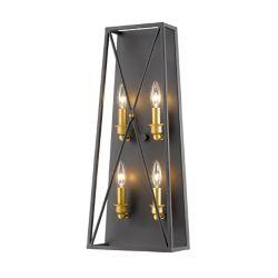 Filament Design Applique murale à 4 ampoules bronze doré avec abat-jour en acier bronze doré