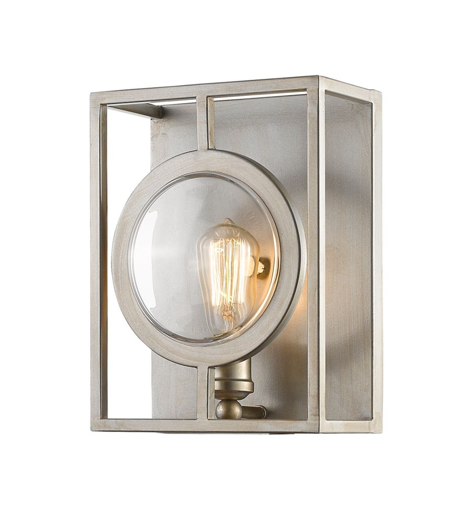 1-Light Antique Silver Sconce with Antique Silver Steel Shade - 5.5 inch