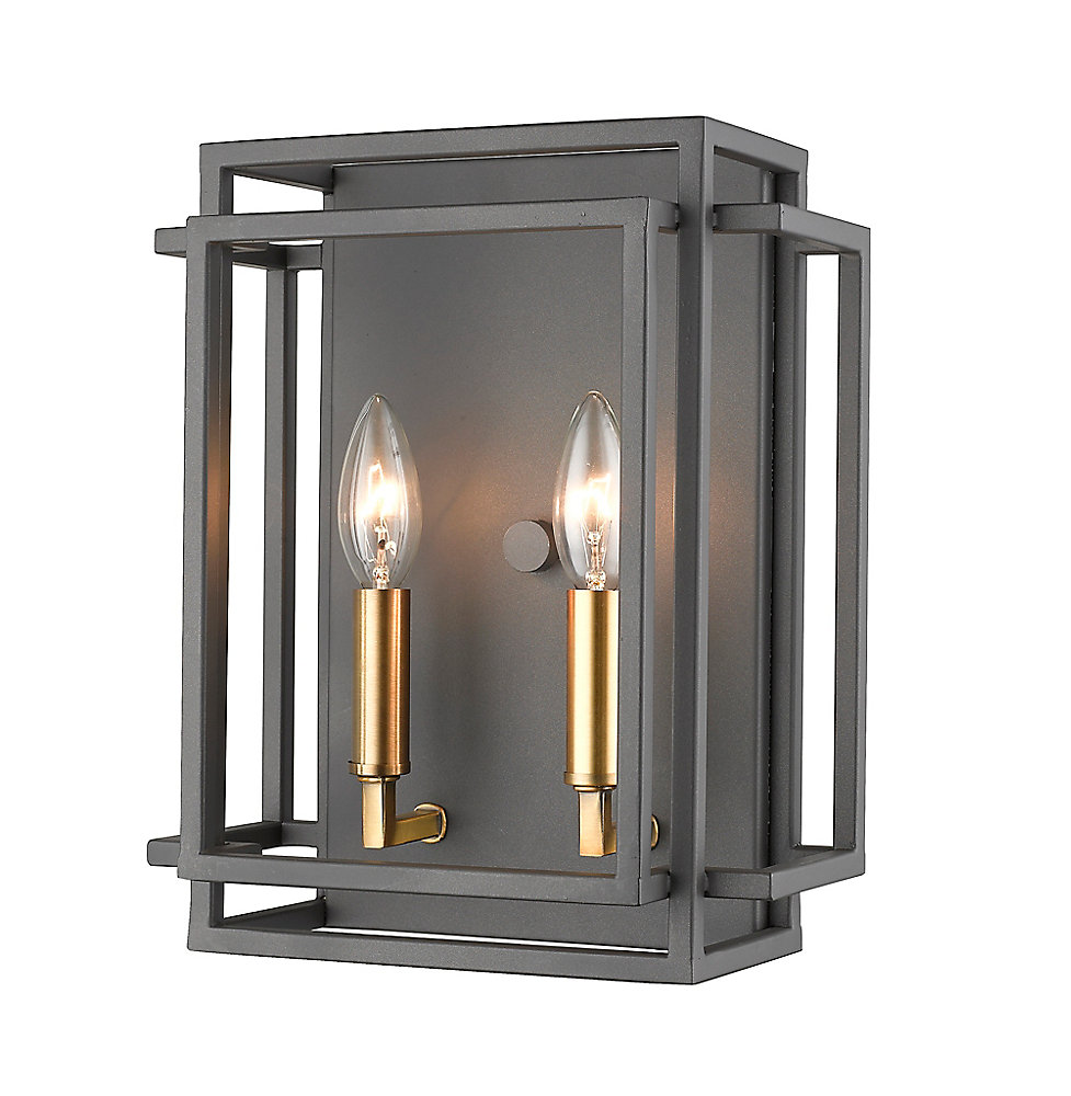 2-Light Bronze and Olde Brass Wall Sconce - 5 5 inch