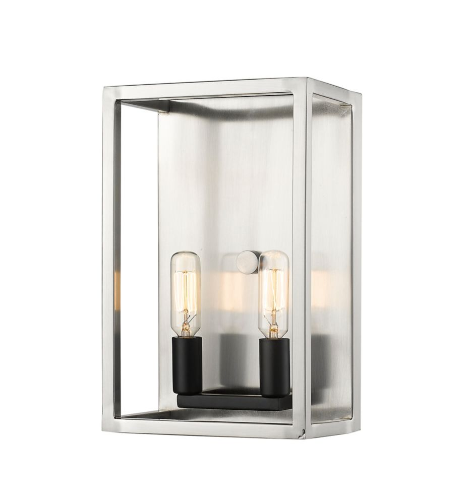 Filament Design 2-Light Brushed Nickel and Black Wall Sconce - 7 inch