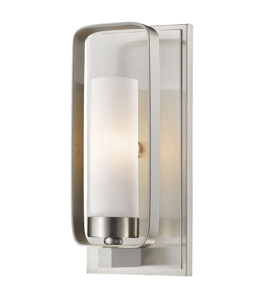 Filament Design 1-Light Brushed Nickel Wall Sconce with Matte Opal Glass - 4 inch