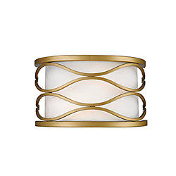 Filament Design 2-Light Old Gold Wall Sconce with White Linen Fabric Shade - 6 inch