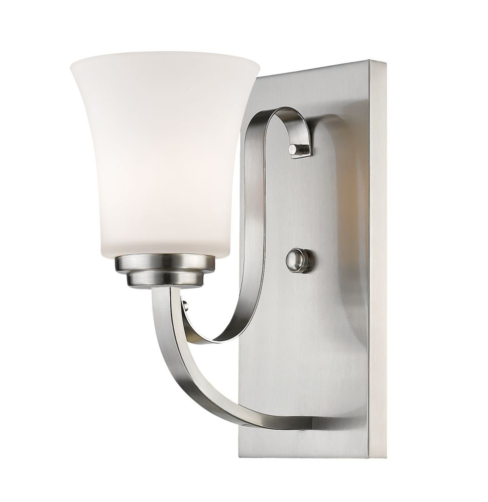 Filament Design 1-Light Brushed Nickel Wall Sconce with Matte Opal Glass - 8.625 inch
