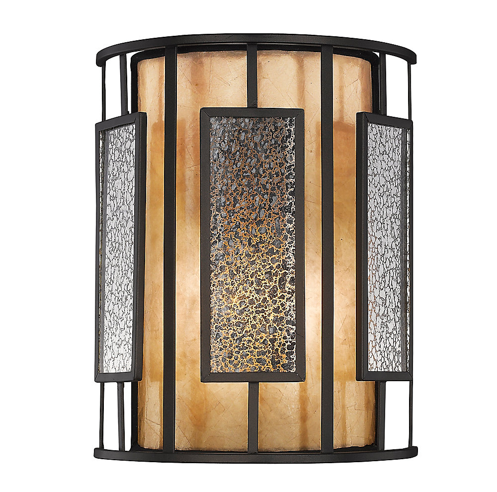 1-Light Bronze Wall Sconce with Silver Mercury and White Mica Shade Glass - 4 inch