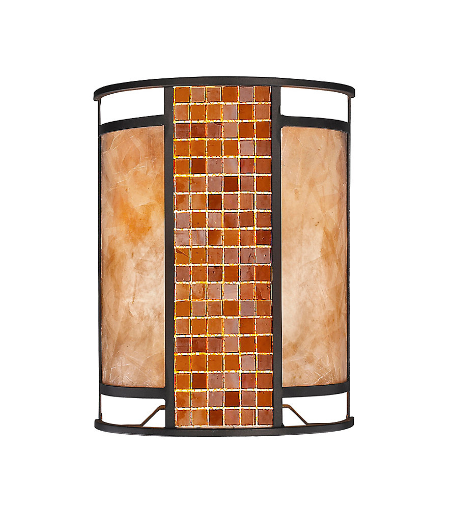 2-Light Bronze Wall Sconce with White Mica Shade and Tile Glass - 4 inch