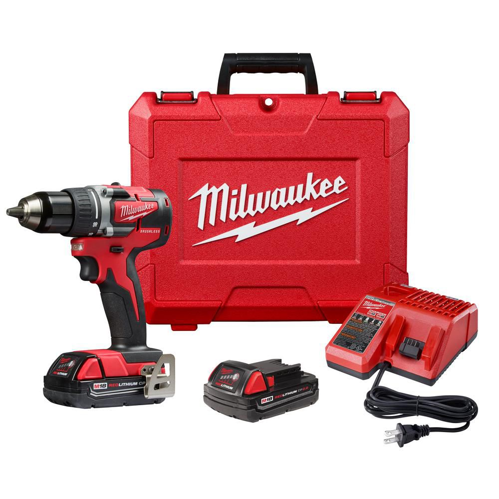 Milwaukee Tool M18 18V Lithium-Ion Brushless Cordless Compact 1/2-Inch Drill/Driver Kit w/ (2) 2.0 Ah Batteries
