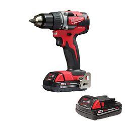Milwaukee Tool M18 Kit de perceuse/visseuse compacte sans fil sans fil 18 V au lithium-ion de 1/2 pouce avec (2) piles de 2,0 Ah.