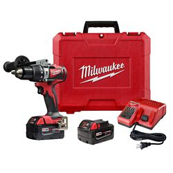 Milwaukee Tool M18 18V Lithium-Ion Brushless Cordless 1/2-inch Compact Hammer Drill/Driver Kit w/ (2) Batteries