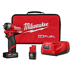 M12 FUEL 12V Lithium-Ion Brushless sans fil Stubby 1/4-inch Impact Wrench Kit a/ (2) Piles