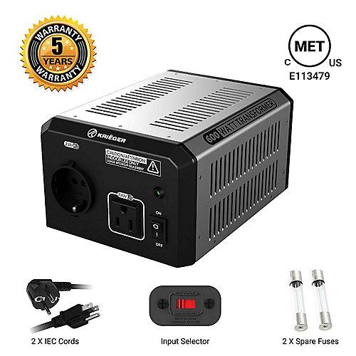 600 Watt voltage converter/transformer 120V to/from 220V-240V