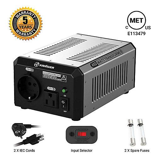 450 Watt voltage converter/transformer 120V to/from 220V-240V