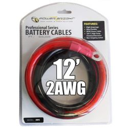 Power Bright 2 gauge 12 foot professional heavy duty DC power cables with ring connectors
