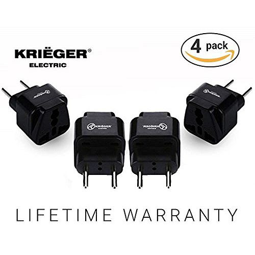 Krieger Universal to European plug adapter (4-Pack)