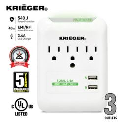 Krieger 3-Outlet Surge Protector Wall Tap, 2x USB Ports (3.4A max), LED colour for load indicator