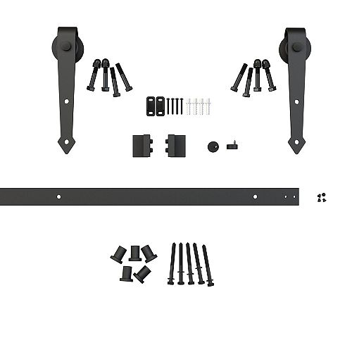 Onward 78 3/4 in (2000 mm) Sliding Barn Door Hardware Kit, Black Arrow Collection, Black