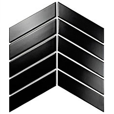 Metro Soho Chevron Matte Black 1-3/4-inch x 7-inch Porcelain Floor and Wall Tile (10 sq. ft. / case)