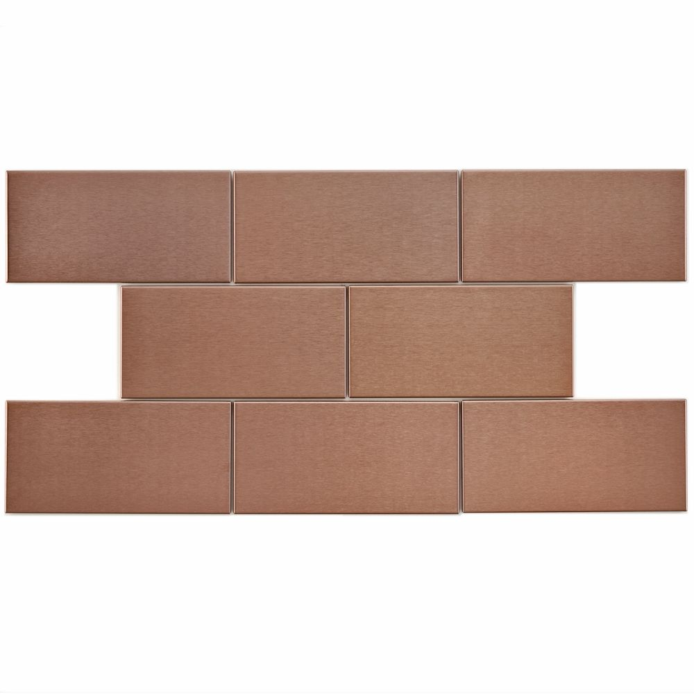 Merola Tile Alloy Subway Copper 3-inch x 6-inch Stainless Steel Over Porcelain Wall Tile (10 sq. ft. / case)