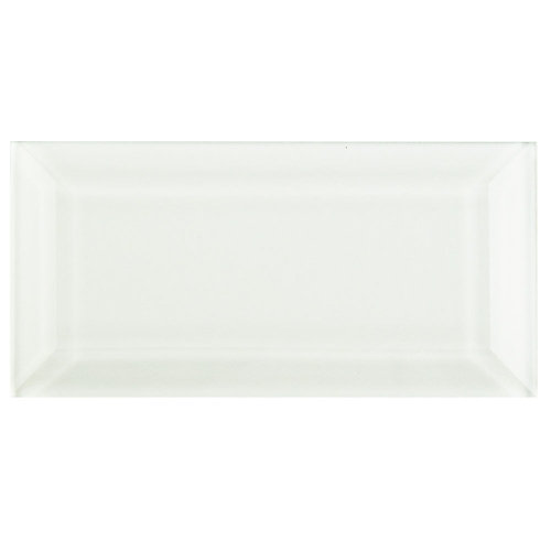 Tessera Beveled Ice White 3-inch x 6-inch Glass Wall Tile (4 sq. ft. / case)