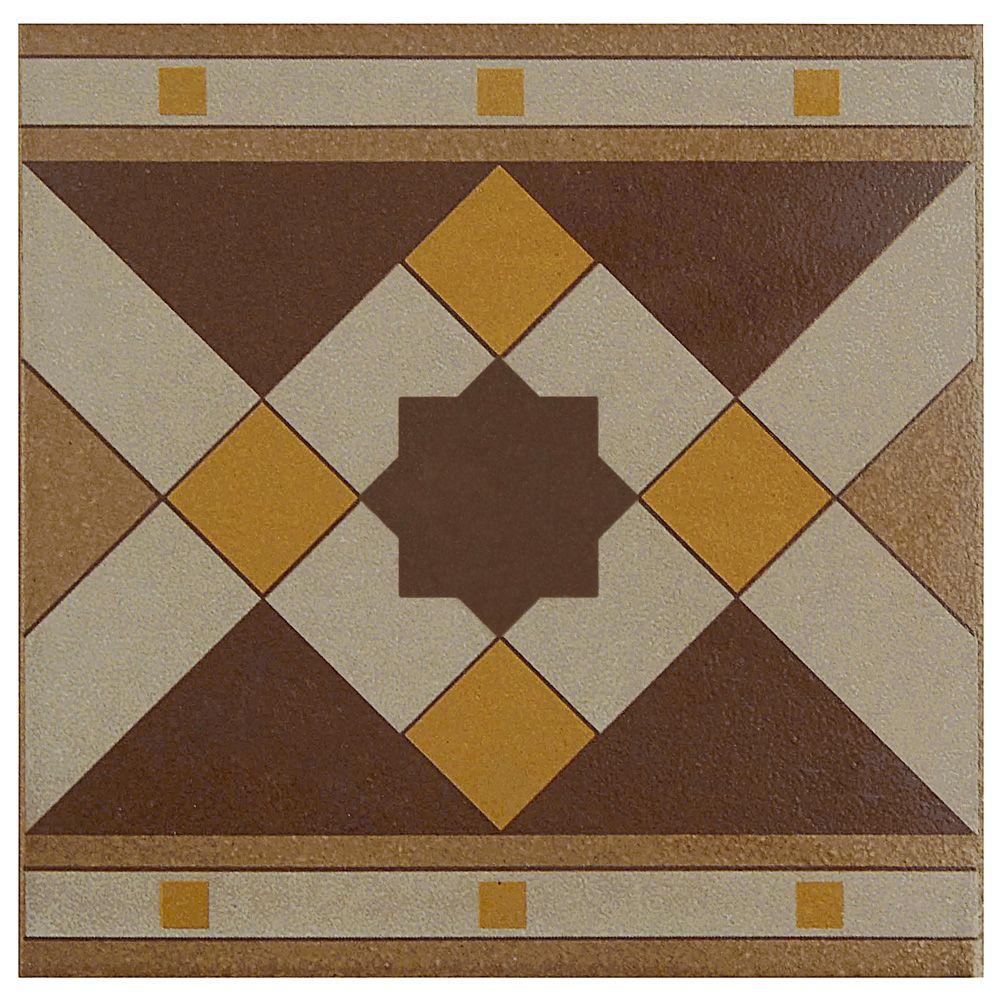Merola Tile Cementi Quatro Geo Cenefa 7-inch x 7-inch Porcelain Floor and Wall Border Tile (2.92 sq. ft. / case)
