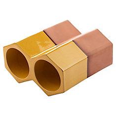 Support 2 bouteilles empilables céramique aspect terre cuite 5 1/8 po x 9 1/4 po Botellero jaune