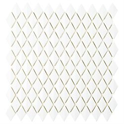 Merola Tile Carreau mosaïque verre biseauté 11 5/8 po x 12 po x 7 mm Expressions blanc diamant (9,89 pi2/bte)