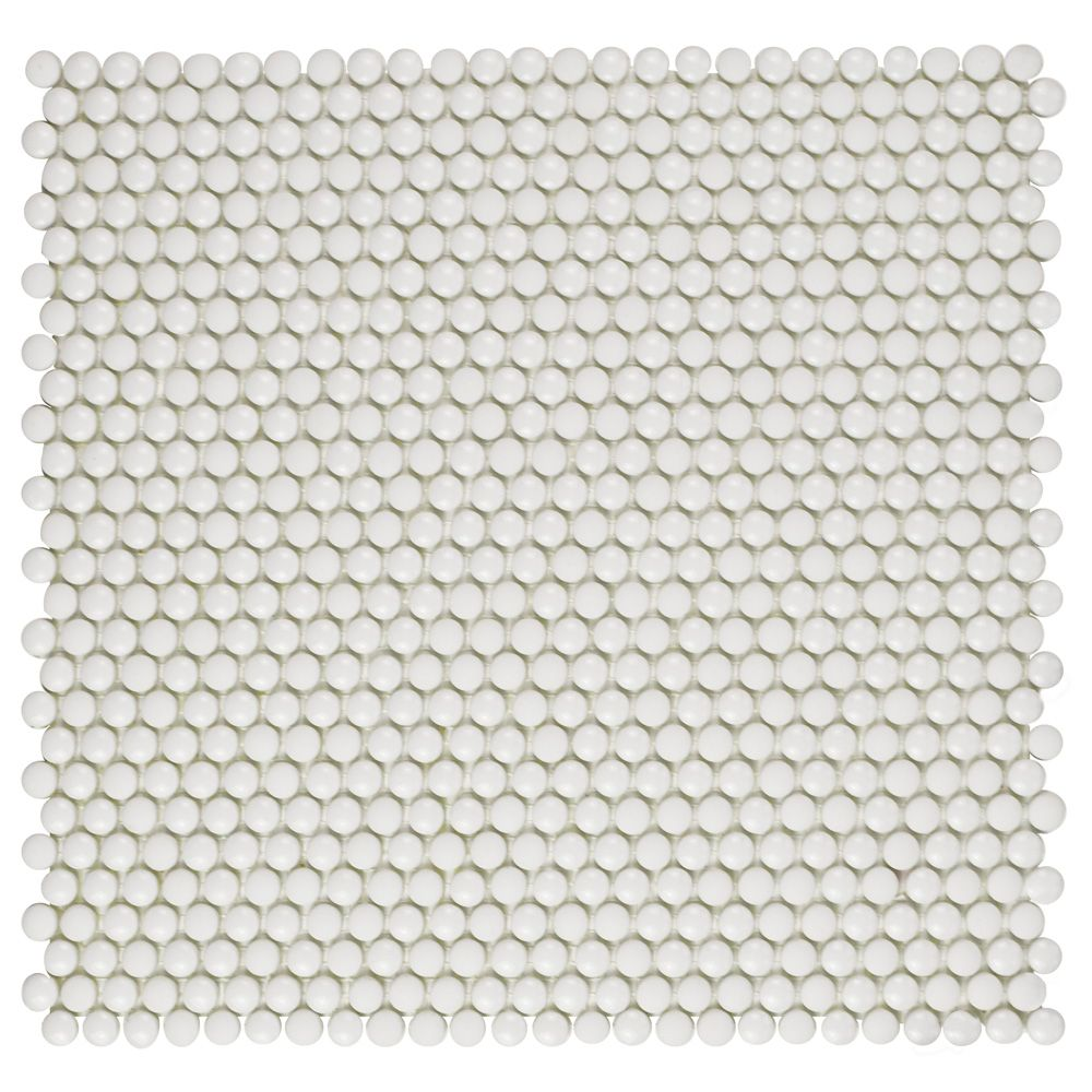 Merola Tile Expressions Button White 12-1/2-inch x 12-3/4-inch x 7 mm Glass Mosaic Tile (11.29 sq. ft. / case)