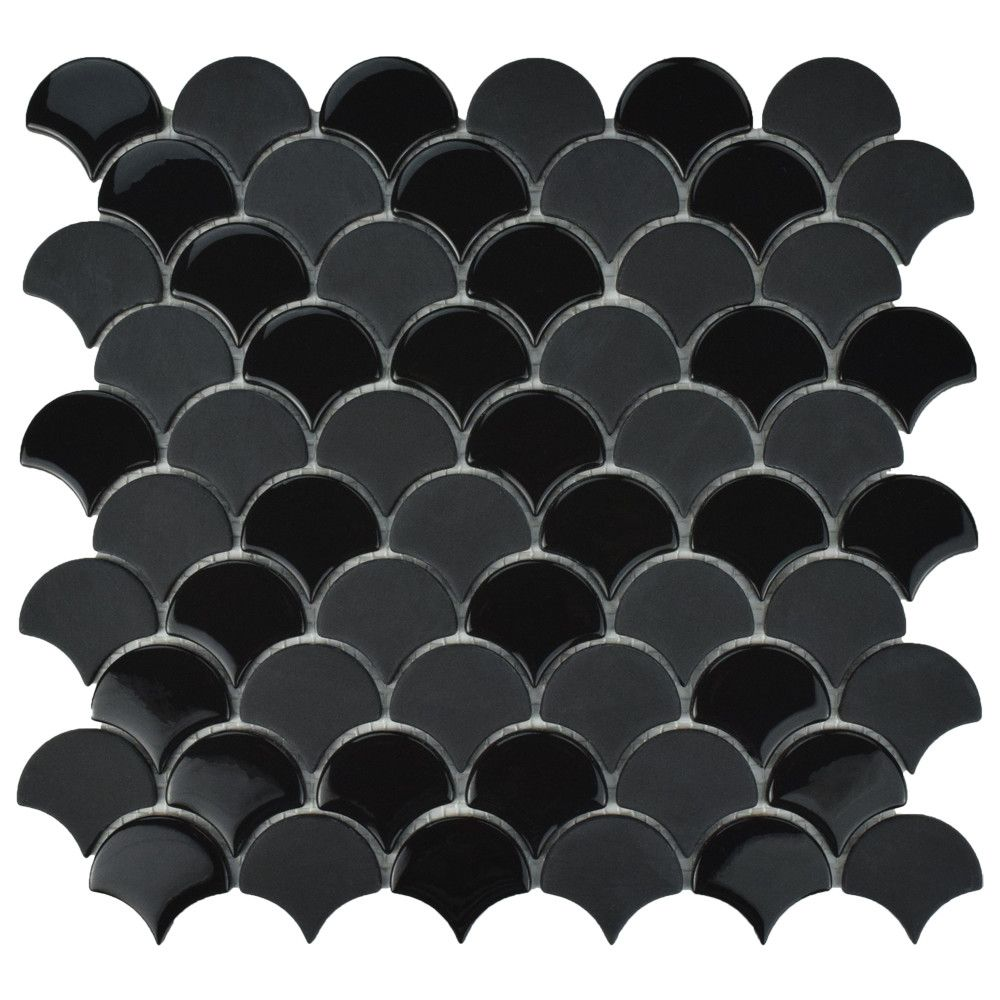 Merola Tile Expressions Scallop Black 11-1/4-inch x 12-inch x 7 mm Glass Mosaic Tile (9.58 sq. ft. / case)