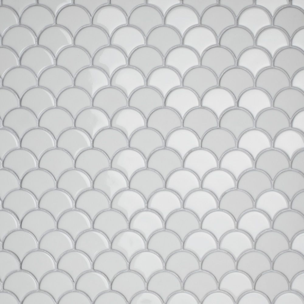 Merola Tile Expressions Scallop White 11-1/4-inch x 12-inch x 7 mm Glass Mosaic Tile (9.58 sq. ft. / case)