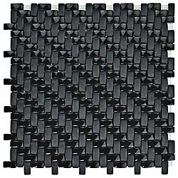 Merola Tile Expressions Weave Black 12-1/4-inch x 12-1/4-inch x 7 mm Glass Mosaic Tile (10.63 sq. ft. / case)