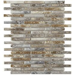 Merola Tile Rustica Brick Noce Slate 10-3/4-inch x 12-3/4-inch x 8 mm Porcelain Mosaic Tile(9.72 sq. ft. / case)