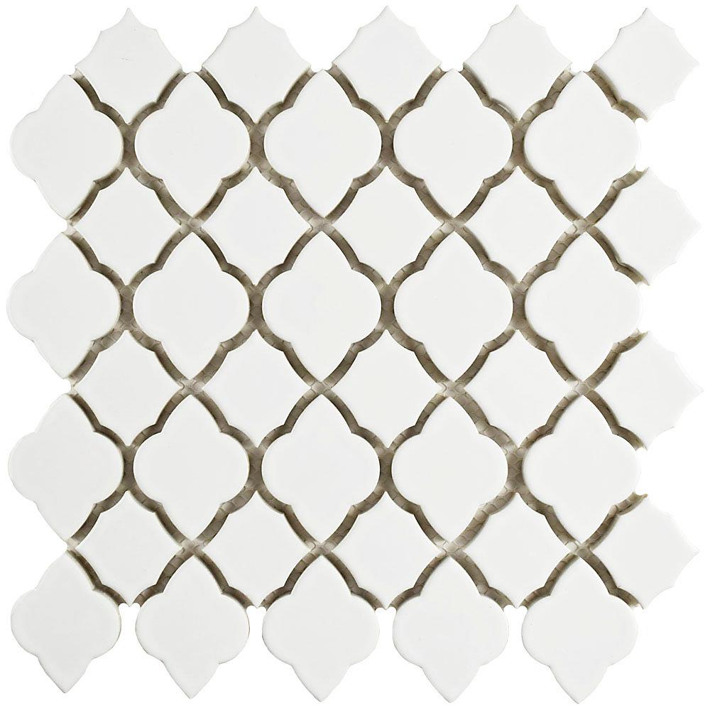 Tunis White 10-1/2-inch x 10-1/2-inch x 7 mm Ceramic Mosaic Tile (7.84 sq. ft. / case)