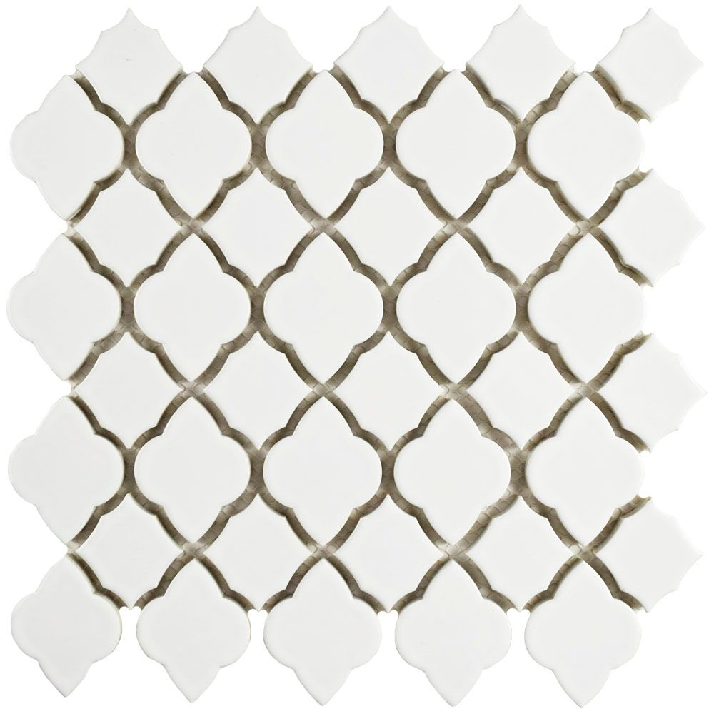 Merola Tile Tunis White 10-1/2-inch x 10-1/2-inch x 7 mm Ceramic Mosaic Tile (7.84 sq. ft. / case)