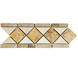 Merola Tile Tivolia Diamond Noce Chiaro Gold 4-inch x 12-1/2-inch x 13 mm Travertine Mosaic Trim (13.68 Ln. ft. / ca)