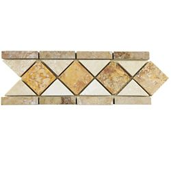 Merola Tile Tivolia Diamond Noce Chiaro Gold 4-inch x 12-1/2-inch x 13 mm Travertine Mosaic Trim (13.68 Ln. ft. / ca)