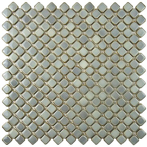 Merola Tile Hudson Diamond Grey Eye 12-3/8-inch x 12-3/8-inch x 5 mm Porcelain Mosaic Tile(10.85 sq. ft. / case)