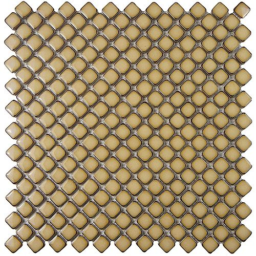Merola Tile Hudson Diamond Caffe 12-3/8-inch x 12-3/8-inch x 5 mm Porcelain Mosaic Tile (10.85 sq. ft. / case)