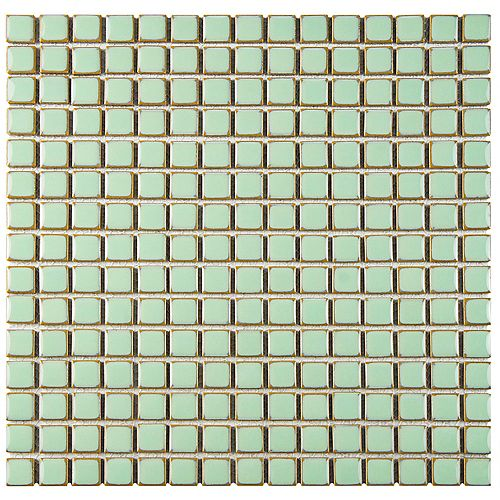 Merola Tile Hudson Edge Light Green 12-3/8-inch x 12-3/8-inch x 6 mm Porcelain Mosaic Tile(10.85 sq. ft. / case)