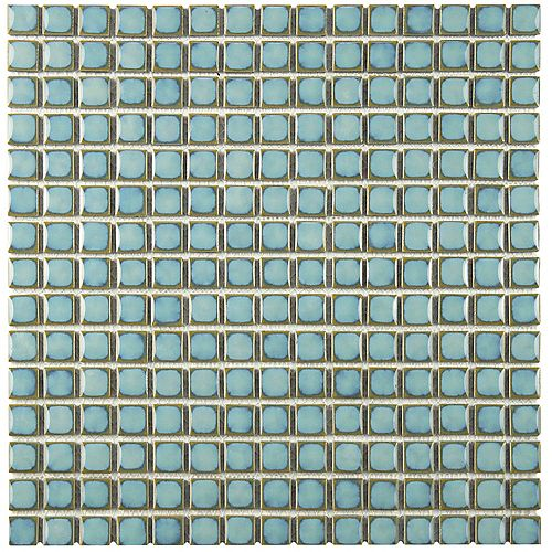 Merola Tile Hudson Edge Marine 12-3/8-inch x 12-3/8-inch x 6 mm Porcelain Mosaic Tile (10.85 sq. ft. / case)
