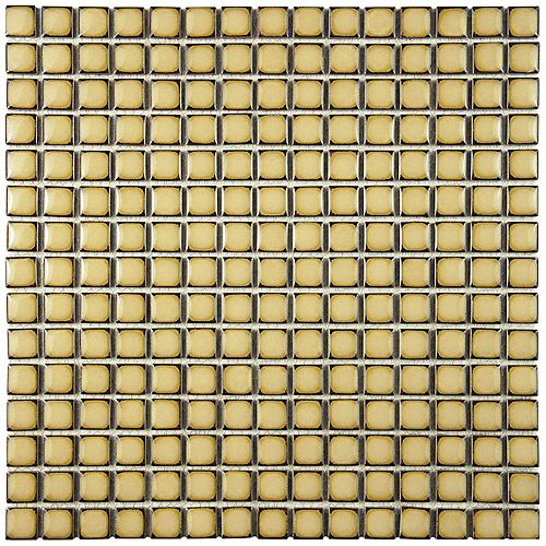 Merola Tile Hudson Edge Caffe 12-3/8-inch x 12-3/8-inch x 6 mm Porcelain Mosaic Tile (10.85 sq. ft. / case)