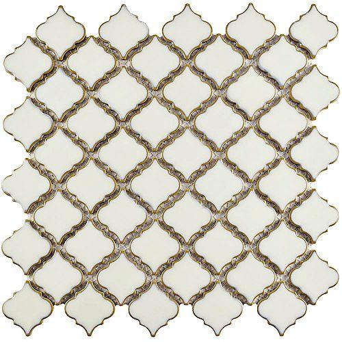 Merola Tile Hudson Tangier Snowcap White 12-3/8-inch x 12-1/2-inch x 5 mm Porcelain Mosaic Tile(10.96 sqft/case)